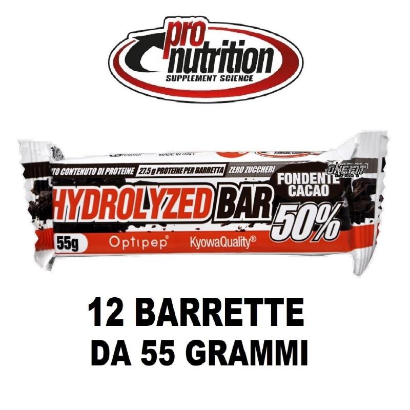 PRONUTRITION 12 X HYDROLIZED BAR 50% PROTEINE ZERO ZUCCHERI 55 G Barrette Proteiche e Energetiche